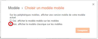 Désactiver le modèle d'un blog Blogger sur mobile