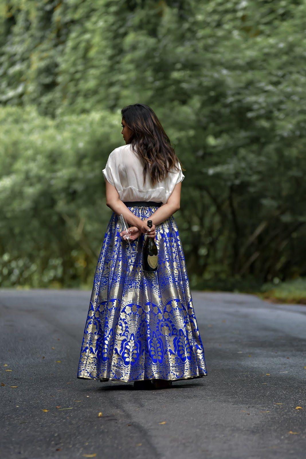 fusion wear, indian, blue lehnga skirt outfit, wedding outfit, blue banarsi skirt outfit, gucci marmont belt, style, fashion, myriad musings, ootd