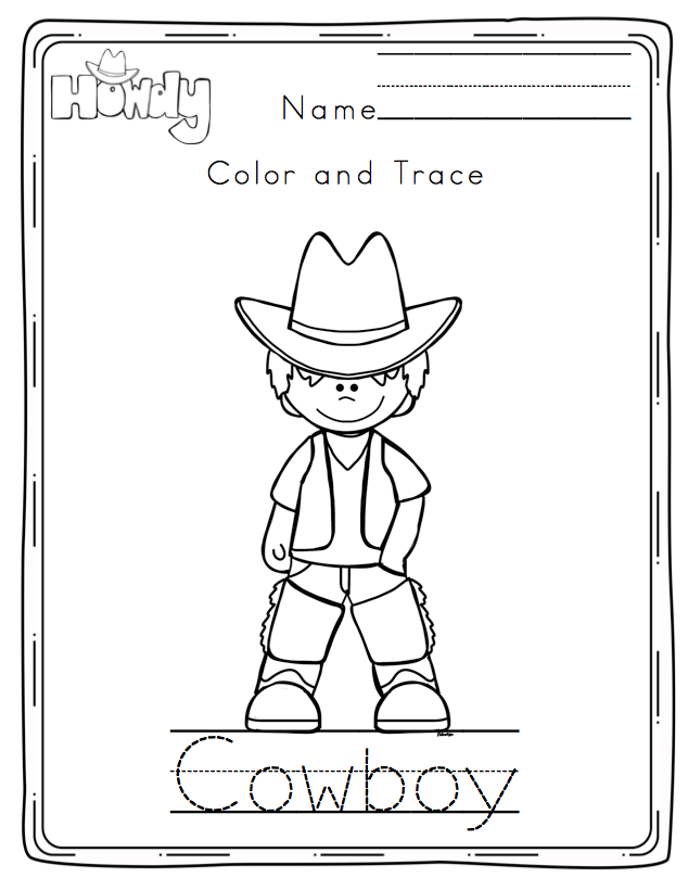 Cowboy No Prep Printable ~ Preschool Printables