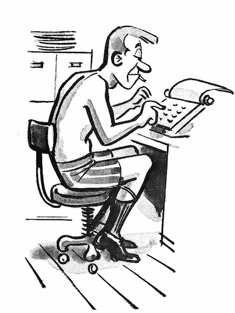 writer cartoon 1962, writer at home cartoon