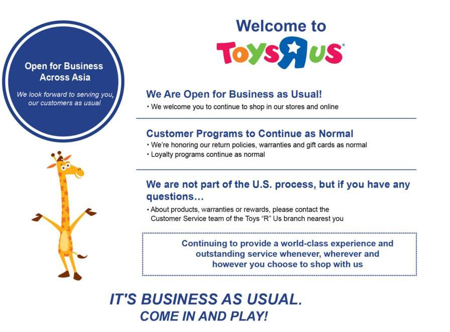 Toys r us closes its stores the products blog toysrus asia limited is headquartered in hong kong and is in a jv with fung retailing limited a privately held entity and member of the fung group colourmoves