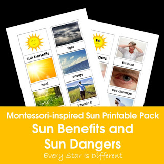 Montessori-inspired Sun Printable Pack: Sun Benefits and Sun Dangers