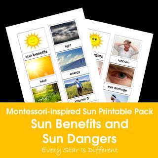 Montessori-inspired Sun Printable Pack: Sun Benefits and Sun Dangers