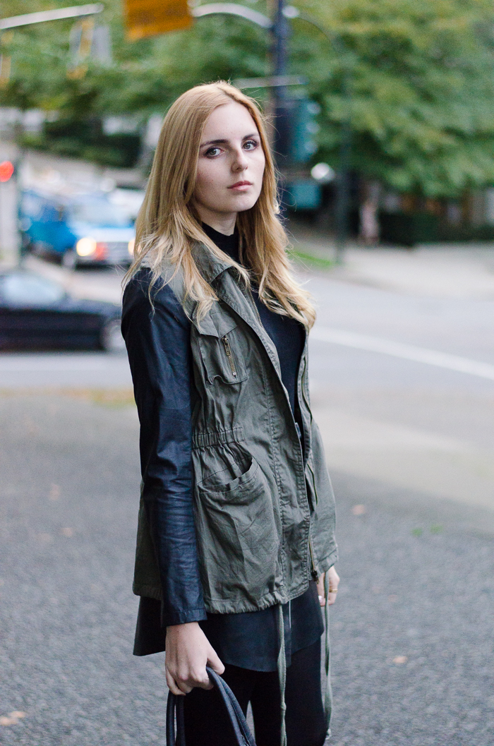 Leather skirt, Winter Outfits, Leather sleeve Jacket