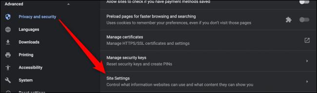 إعدادات إعدادات موقع Chrome