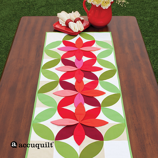 Bloom Table Runner Free Pattern designed by Accuquilt