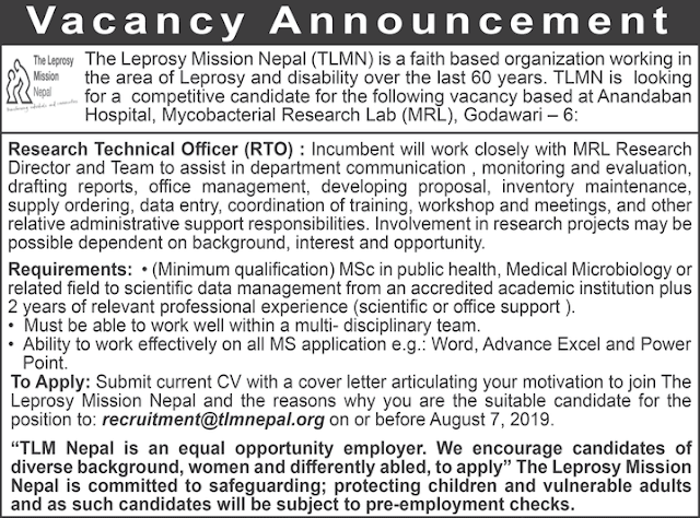 Vacancy at The Leprosy Mission Nepal