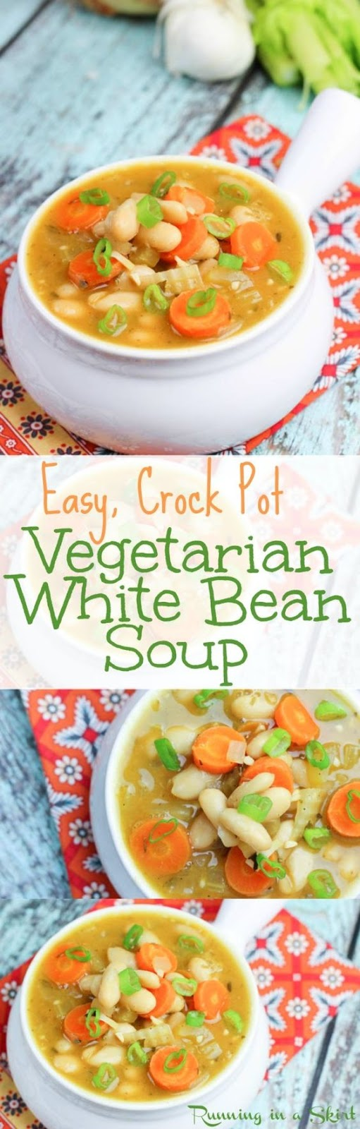 My Vegetarian White Bean Soup simmers all day in the Crock Pot. The result is a simple, healthy and delicious meal for any day of the week.