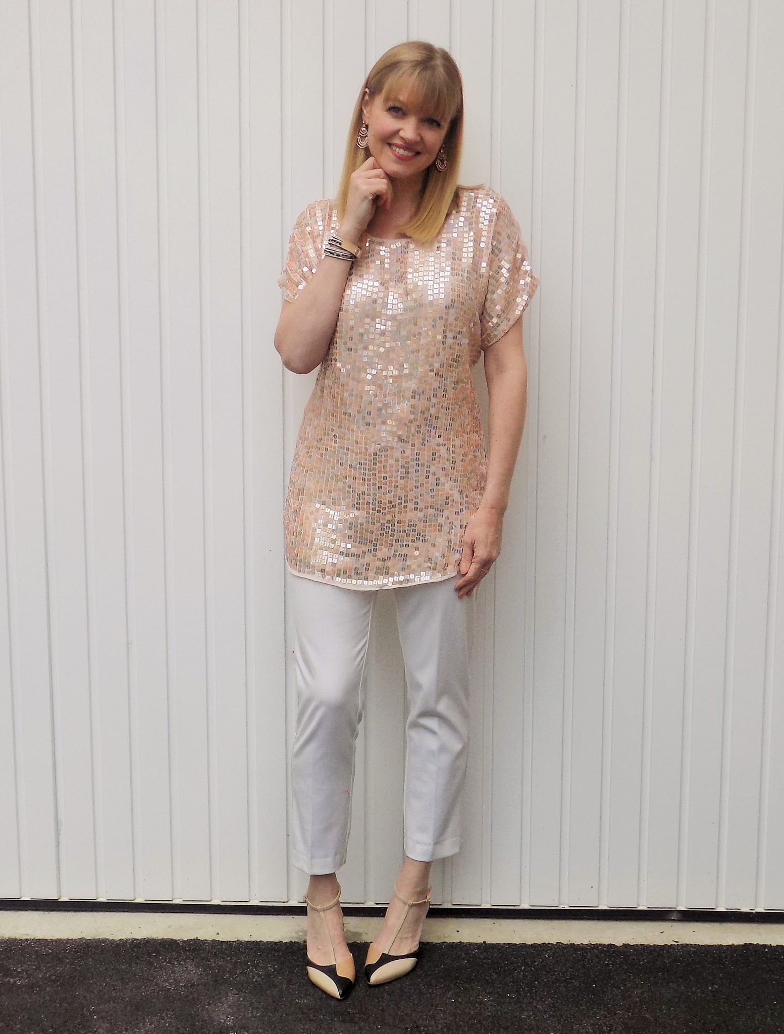 Sequinned tunic, cream trousers, colour block t bar court shoes and leopard print wrap bracelet