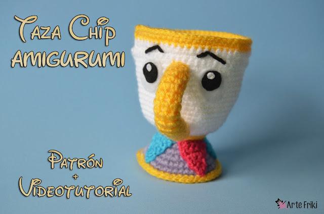 taza chip amigurumi patron gratis taza primark ganchillo la bella y la bestia kawaii crochet doll plushie cute free pattern