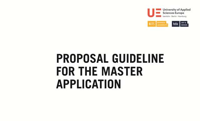 Proposal Guideline For The Master Application | University of Applied Sciences Europe