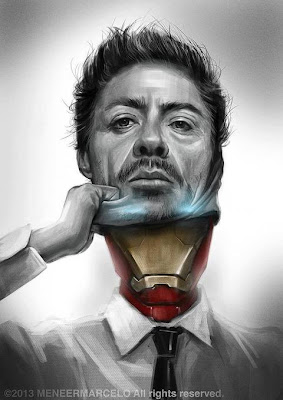 fotomontaje de iron man y tony stark