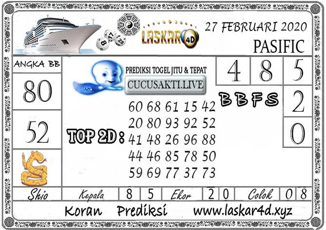 Prediksi Togel PASIFIC LASKAR4D 27  FEBRUARI 2020