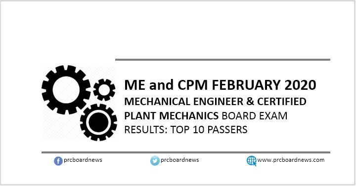 Top 10 Passers List: February 2020 Mechanical Engineer ME, CPM board exam result