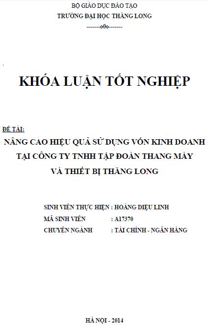 Nâng cao hiệu quả sử dụng vốn kinh doanh tại Công ty TNHH Tập đoàn Thang máy và Thiết bị Thăng Long