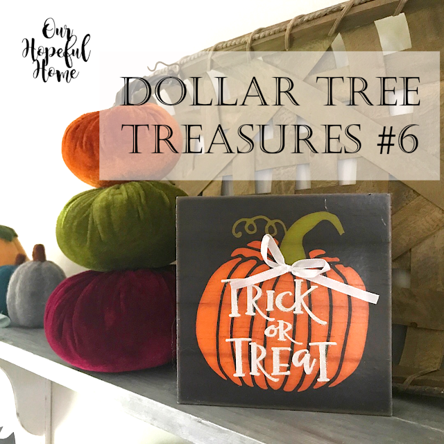 Dollar Tree trick or treat orange pumpkin sign bow