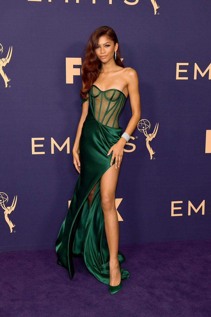 Zendaya wearing a green dress