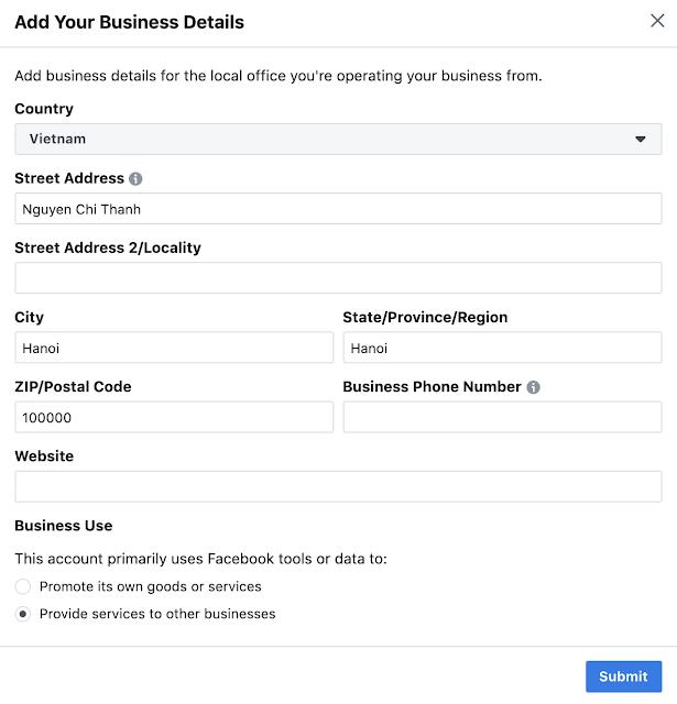 Điền thông tin cho Trình quản lý kinh doanh