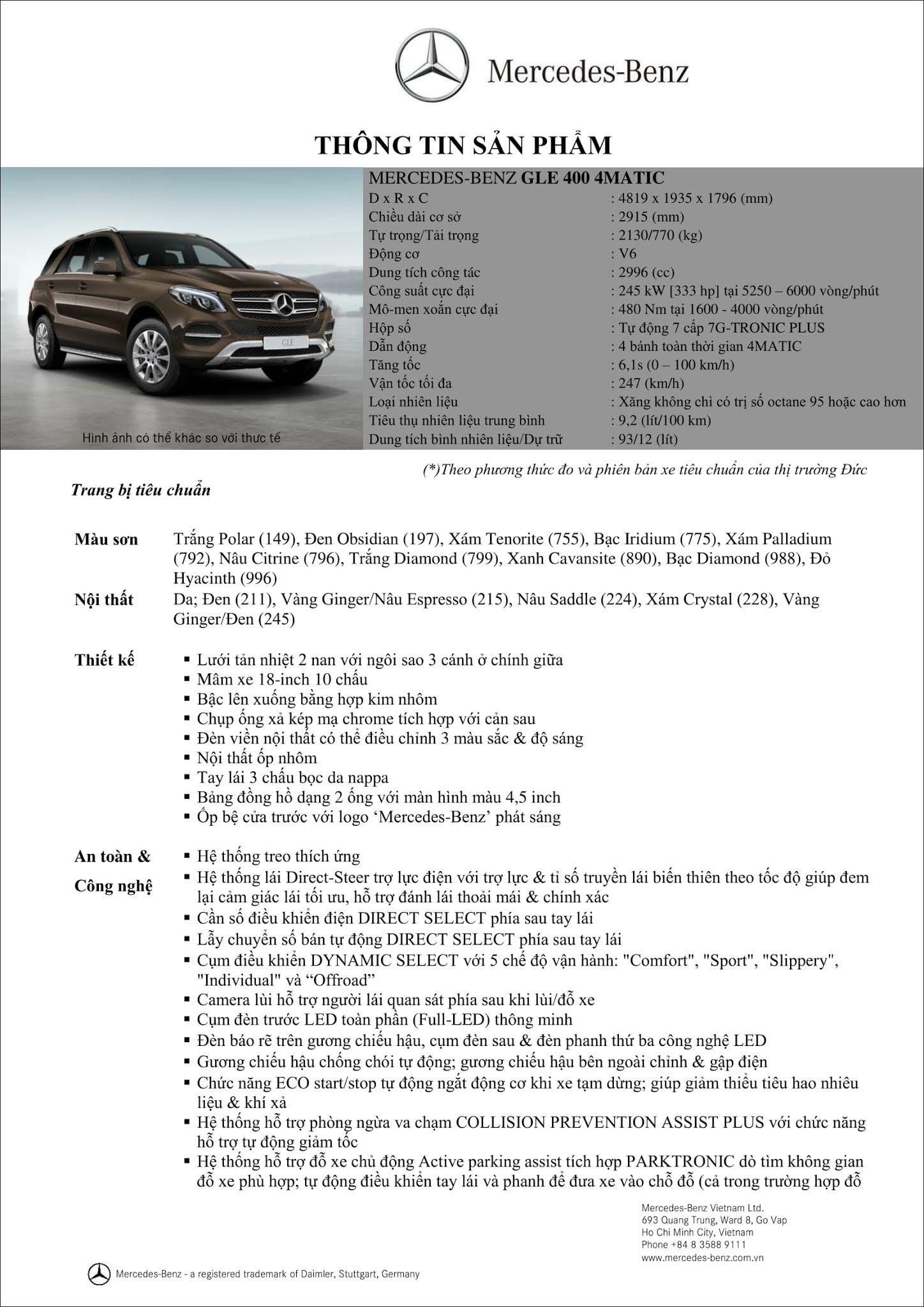Bảng thông số kỹ thuật Mercedes GLE 400 4MATIC 2019 mới nhất