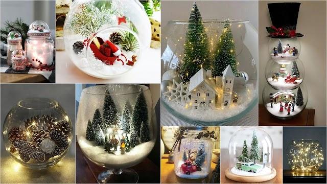 Χριστουγεννιάτικες συνθέσεις σε Γυάλες