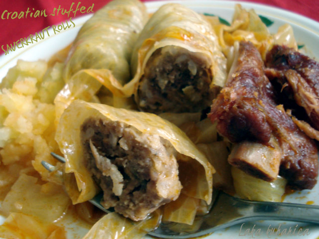 Croatian stuffed sauerkraut rolls by Laka kuharica: traditional Croatian meal, eaten on the first day of the new year, is bursting with delicious flavors.