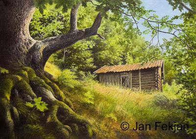 Bilde av digigrafiet 'Sommerfjøs, Nedre Ono'. Digitalt trykk laget på bakgrunn av et maleri av et gammelt hus. Hovedmotivet er en gammel gårdsbygning, et sommerfjøs, i grønne omgivelser. Kulturlandskap med løvskog. Stilen kan beskrives som figurativ, nasjonalromantisk og realistisk. Bildet er i breddeformat.