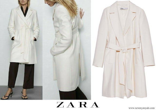 Princess Marie wore a new oyster white belted wool coat from Zara