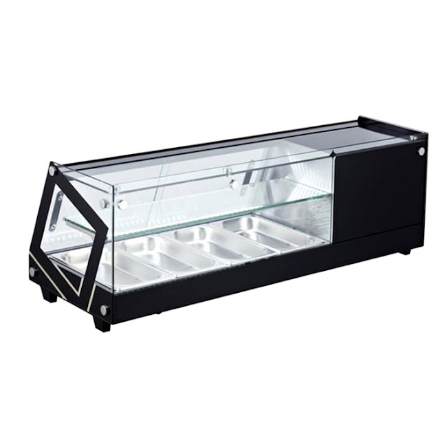 Tủ mát sushi để bàn, tủ bánh ngọt 2 tầng/ màu đen / dài 1m2