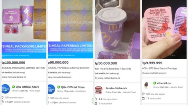 Nggak Masuk Akal, Kemasan BTS Meal Dijual Hingga Rp 100 Juta di E-commerce
