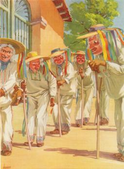 Dibujo a color de la danza de Los Viejitos