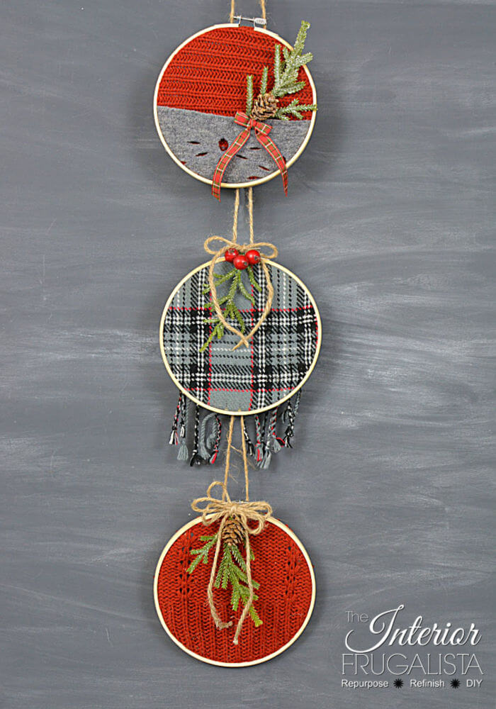 Festive Recycled Sweater Ornament Trio