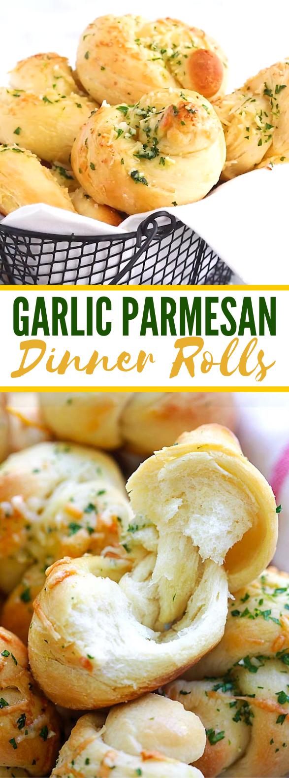 Garlic Parmesan Dinner Rolls #dough #dinnerrecipe