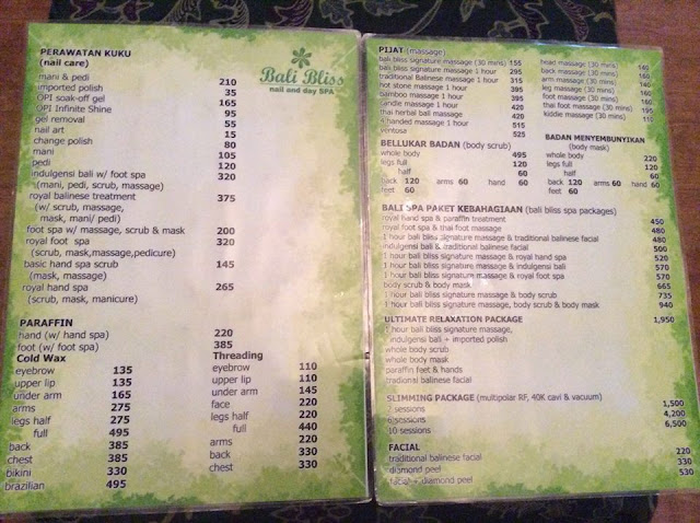 bali bliss price list, bali bliss menu of services,