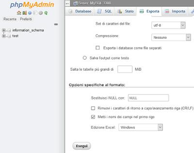 Da mysql ad excel con phpmyadmin