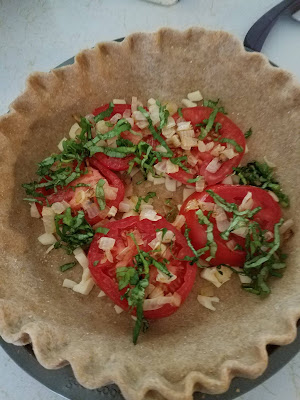 Savory Tomato Feta and Basil Pie, a taste of summer in every bite!