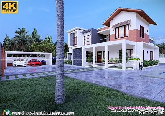 Mixed roof Kerala house with separate car porch