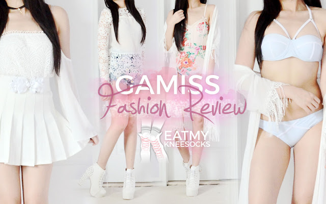 Today's fashion review highlights my six-item order from Gamiss, including an embroidered peach cap, faux leather choker, white waist belt, crochet top, floral one-piece swimsuit, and colorblocked two-piece bikini set. - Eat My Knee Socks / Mimchikichi