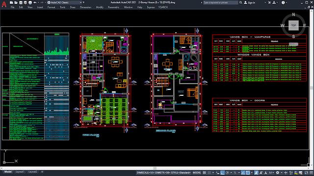 2-Storey House Plans (8 x 15) [DWG]