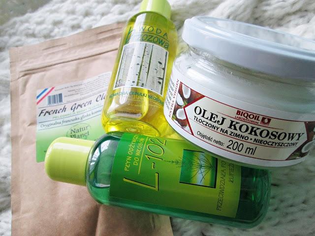 wcierki Kulpol, zielona glinka, olej kokosowy