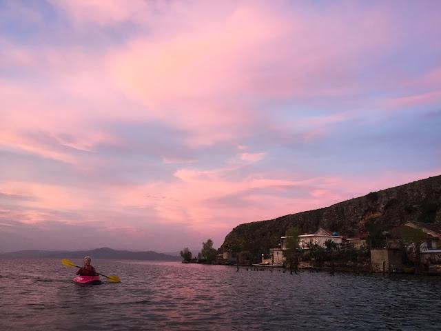 Pink sunset on Lake Ohrid, Albania