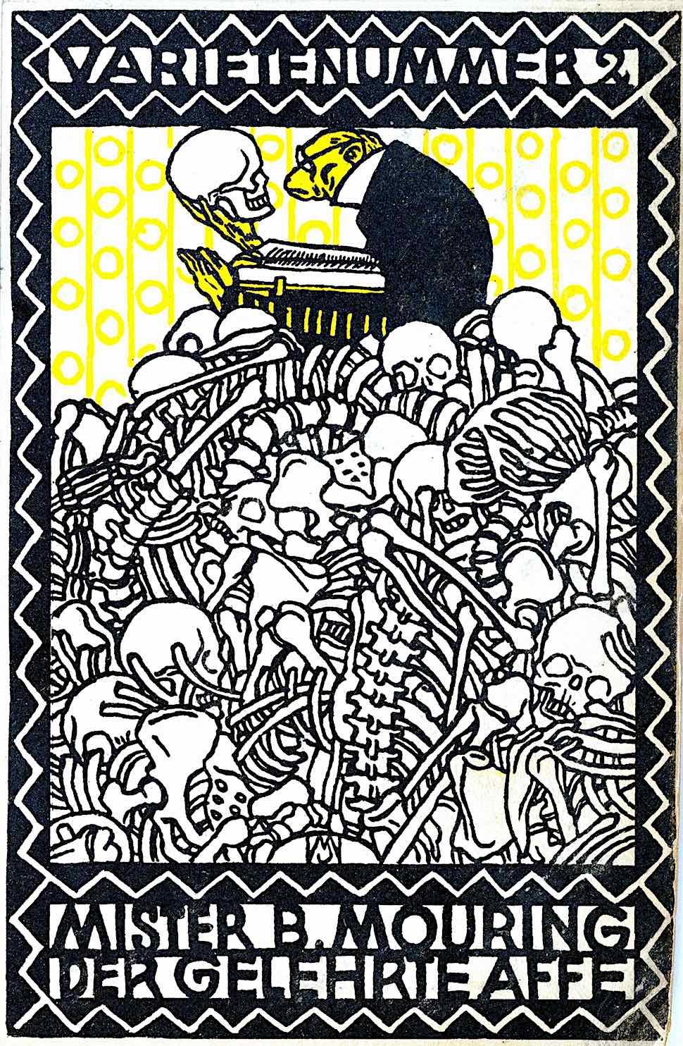 a card from the Wiener Werkstätte, Mister B. Mouring Der Gelehrte Affe, an educated yellow monkey is inspecting human skulls