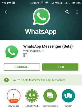 You are a beta tester for this app. Awesome - whatsapp