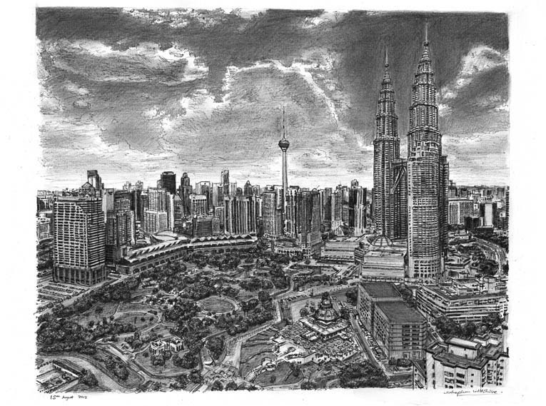 12-Kuala-Lumpur-Skyline-Stephen-Wiltshire-Urban-Drawings-from-Memory-with-Detailed-Cityscapes-www-designstack-co