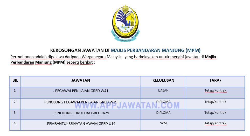 Jawatan Kosong Di Majlis Perbandaran Manjung Mpm Appjawatan Malaysia