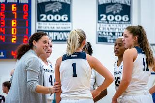 Casey Thousand coaching the UIS Women's Basketball team