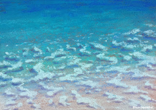 A soft pastel painting of seawaves by Indian artist and blogger, Manju Panchal