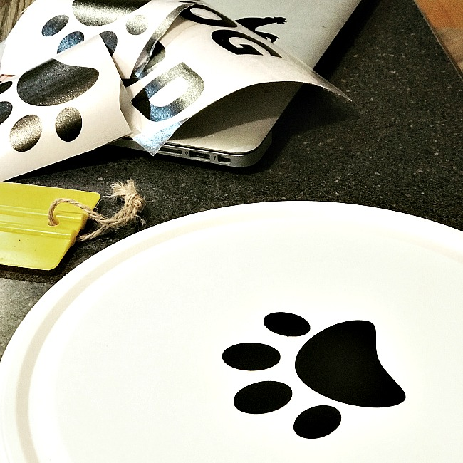 Dry Dog Food Container storage with vinyl paw prints