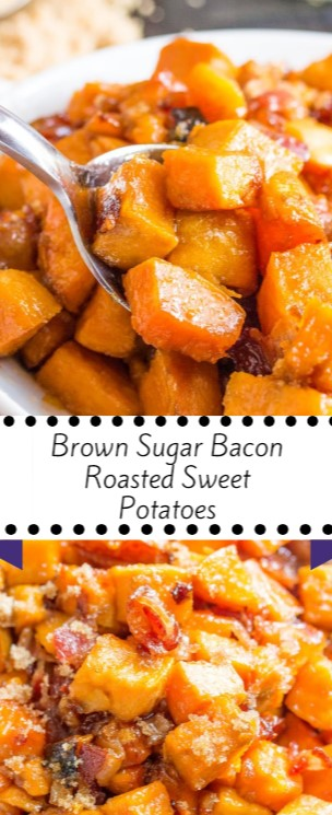 Brown Sugar Bacon Roasted Sweet Potatoes #christmas #dinner