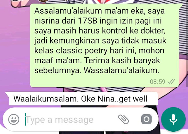 Contoh Surat Izin Sakit Lewat WhatsApp (via: Twitter.com)