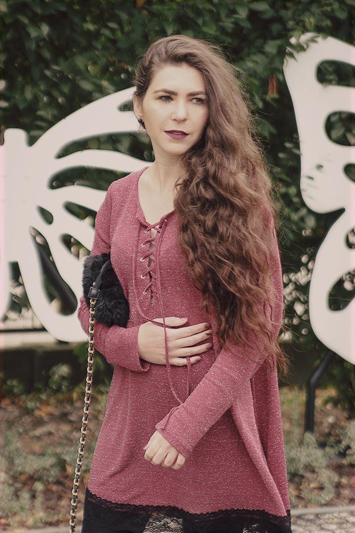 lace-up dress fluffy bag wrzosowa sukienka z wiązaniem, koronka na dole, bordo golden rose nr 5